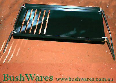 BBQ hot plate grill free standing with detachable legs Blue steel 540mm x 300mm