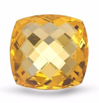 LOOSE STONE CITRINE SQUARE CUSHION CHECKERBOARD CUT 16.83 CT.,16.7 x 16.7MM. NEW