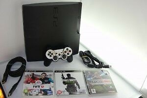 Playstation 3 PS3 Slim Console 160 GB GO Controller Manette + 3 Games Jeux 4418