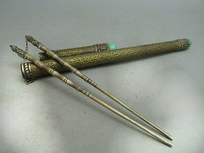 A Set Of Chinese Silver Carved Chopsticks & Copper Case