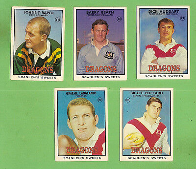 1968 Series 2 Scanlens St George Rugby League Team Cards, All 5 Cards