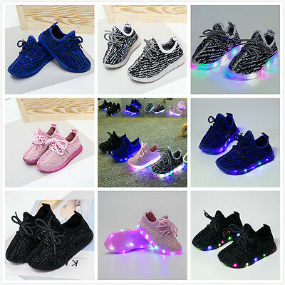 Kids Girls Boys Led Light Up Luminous Sneakers Children Running Casual Shoes
