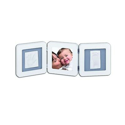 Baby Art My Baby Touch Double Frame (White/Grey) 2-piece - includes casting kit