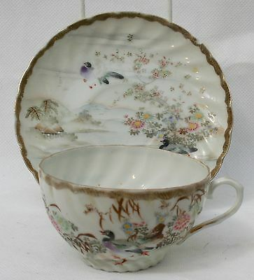 Antique Japanese Porcelain Cup & Saucer Geese & Flowers Signed