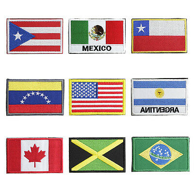 9 American Countries Embroidered Sew On Patches,Hook & loop Design New