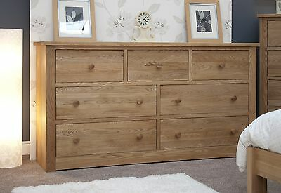 Vermont solid oak bedroom furniture deep wide chest of drawers