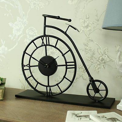 Black metal penny farthing bicycle mantel clock shabby vintage chic retro gift