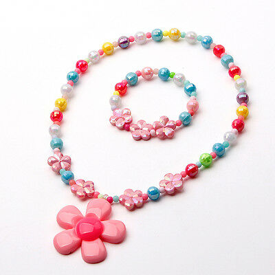 Girls Acrylic Set Necklace New Children Bracelet Flower Pendant Jewelry Fashion