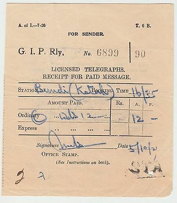 INDIA 1927 TELEGRAPH RECEIPT FOR PAID MESSAGE of 'G.I.P.RAILWAY'