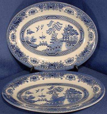 2 x Small Platters/Steak Plates in the Willow Pattern - Maker unknown