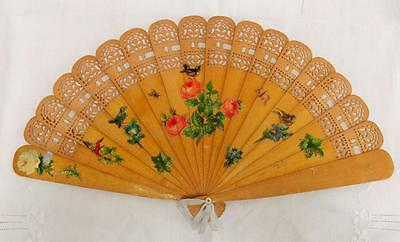 ANTIQUE VICTORIAN CARVED & PIERCED OLIVE WOOD BRISE FAN - DECOUPAGE DESIGN c1880