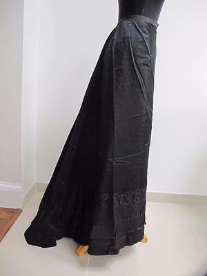 ANTIQUE LATE VICTORIAN BLACK SATIN & LACE APPLIQUE MOURNING BUSTLE SKIRT c1880