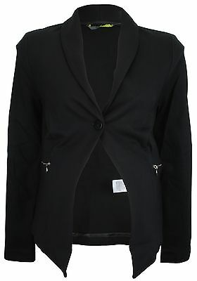 Ex Store Maternity Stretch Jersey Tailored Jacket with Zip Pockets Black