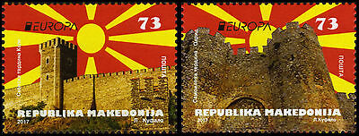 Macedonia / 2017 / Set of 2 stamps / Europa / Castles / Skopje and Ohrid