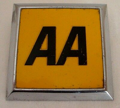 70's Vintage Square AA Car Club Badge Grille Bumper Chrome Classic Emblem