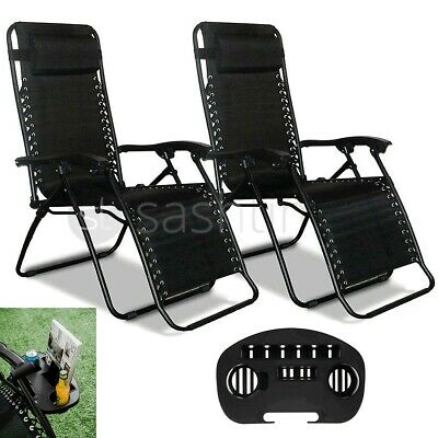 Reclining Sun Lounger Outdoor Garden Patio Gravity Chair Adjustable Head Folding