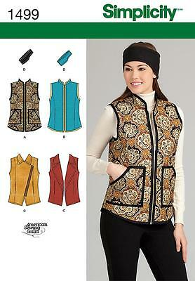 Simplicity Easy SEWING PATTERN 1499 Misses Vests & Headband 6-14 or 16-24