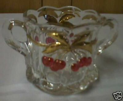 Cherry Cable Sugar Bowl- Crystal with Red Cherries