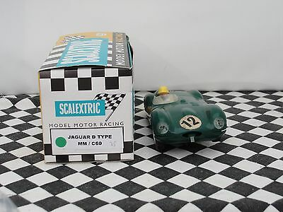 Scalextric 1960's D-Type Jaguar  Green   #12   C60  1.32  Used Boxed