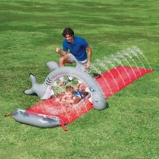 Inflatable Great White Shark Bite Aqua Water Sprinkler Slide Outdoor Garden Lawn