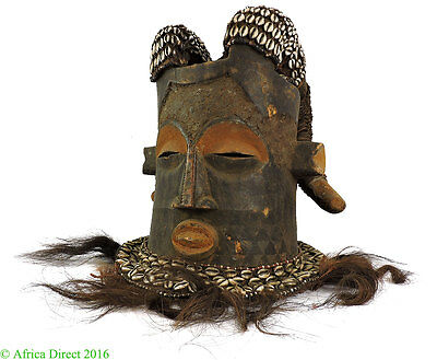 Kuba Helmet Mask Ram Horns Cowries Congo African Art SALE WAS $350