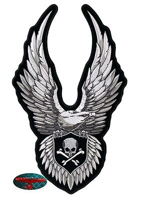 CHROME EAGLE SKULL Biker Patch groß Aufnäher Aufbügler Backpatch Harley Adler US