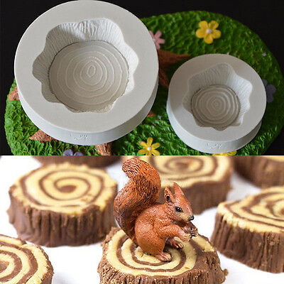 2Pcs 3D Tree Stump Silicone Mould Chocolate Fondant Cake Topper Mold Decoration