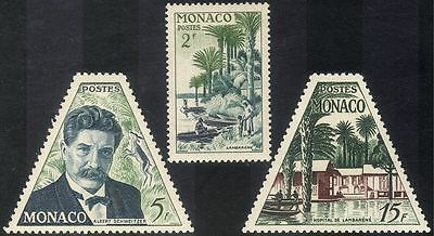 Monaco 1955 Schweitzer/Medical/Nobel Prize/Hospital/People/Palm Trees 3v n43733