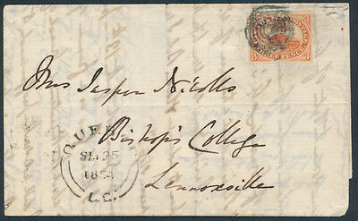 1854 #4 3d Beaver on Quebec to Lennoxville Folded Letter, 4 Margin Copy