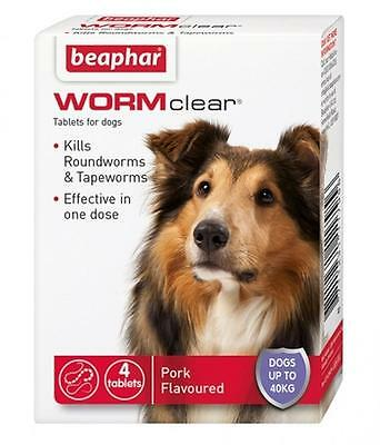 Beaphar WORMclear Dog Roundworm Tapeworm One Dose Worming Tablets Up To 40Kg