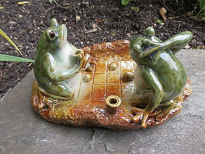 Frogs Playing Game 8 IN. Frog Figurines Garden Decor Yard Oenament Ceramic New