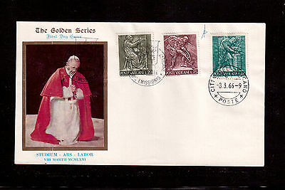 VATICAN 1966 FIRST DAY COVER with #426/28/30, ARTS AND CRAFTS !!