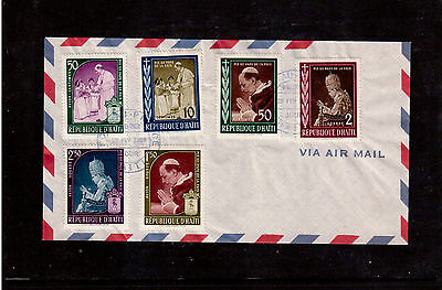 Haiti 1959 First Day Cover #444/46, C139/41 Set, In Memory Of Pope Pius Xii !!