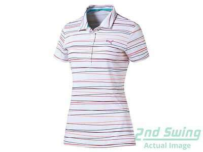 New Womens Puma Road Map Stripe PWRCOOL Polo Small S Rose Red MSRP $65 570532