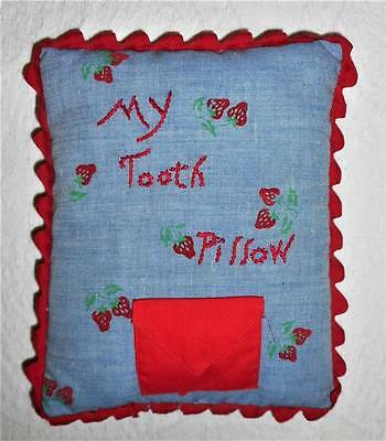 Vintage 8x6 Hand Made & Embroidered Childs Boy or Girl Cotton Tooth Fairy Pillow