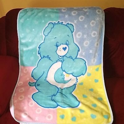 Care Bears BEDTIME BEAR Throw Lap Blanket Pink Yellow Blue Teal Plush Velour