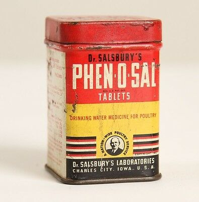 Vtg PHEN-O-SAL Dr. Salsburys Poultry Tin Veterinary Medicine OLD Antique