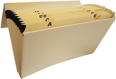 A-Z Expanding Concertina Home File, A4 & Foolscap Cream 19 Pocket File for Bills