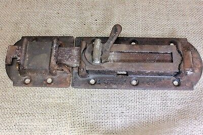 "House Shutter Latch vintage 1860 DATED old rustic texture slide 8 7/8"" cast iron"