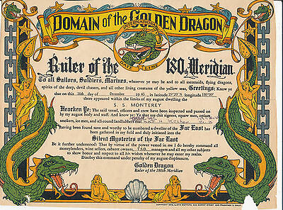 1945 Domain Golden Dragon certificate Hawaii Matson Line SS Montery troop ship
