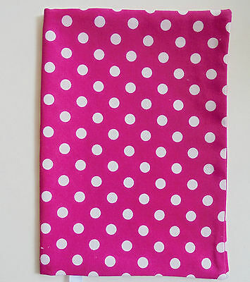 """FABRIC Book Cover 5"""" x 8"""" Book Pink Polka Dots  FABRIC 5""""x8"""" BOOK COVER Dots"""