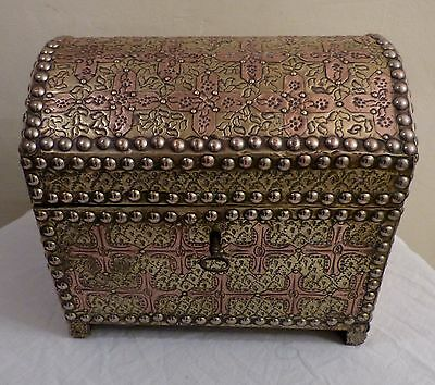 Antique French Copper & Brass Church Collection/Communion Wafer Box with Key