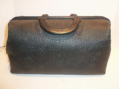 Antique Schell 75320 Doctor Black Leather Medical Satchel Bag w Key  STEAMPUNK
