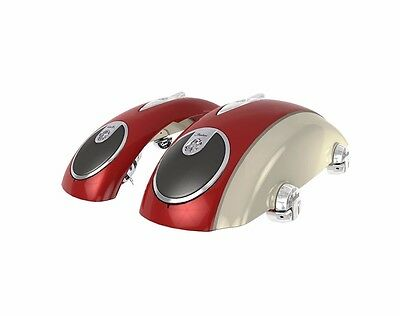 Indian Chieftain Concert Audio Saddlebag Lids Indian Red And Ivory Cream