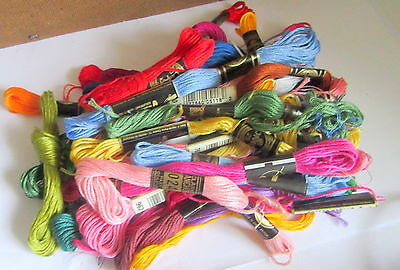 JOB LOT 34 SKEINS  OF ASSORTED EMBROIDERY COTTON THREAD DMC - ANCHOR etc