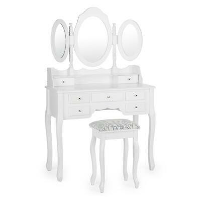 Coiffeuse meuble table de maquillage tabouret commode 3 miroirs 7 tiroirs blanc