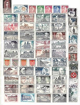 France Mint Lot Of 116 Different Stamps F/vf Hinged 1955/58 Scott $190.50 !!