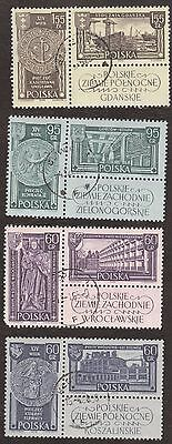 Stamp Poland, 4  blocks of 2 used stamps.
