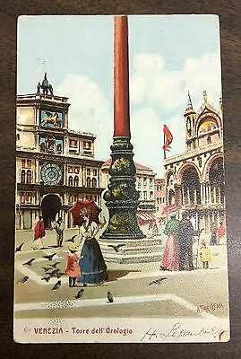 Antique Postcard From Venezia Circa 1904 With Stamp Italy #78