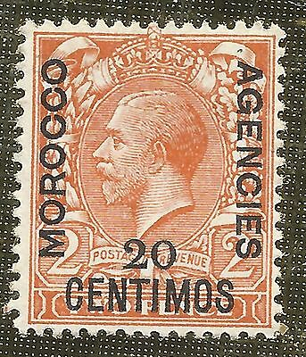MINT 20c ON 2d ORANGE STAMP 1914 - 26 MOROCCO AGENCIES